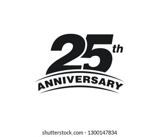 25th Years Anniversary Celebration Icon Vector Logo Design Template