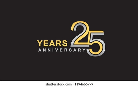 25th years anniversary logo design with multiple line silver and golden color, for celebration event isolated on black background, vector illustration.