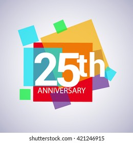 25th years anniversary logo, vector design birthday celebration with colorful geometric isolated on white background.