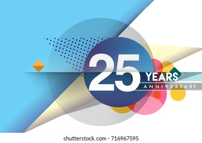 25th years anniversary logo, vector design birthday celebration with colorful geometric background and circles shape.