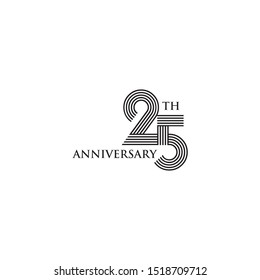 25th years celebrating anniversary logo design vector illustration template