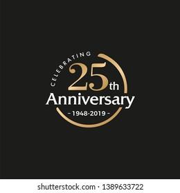 25TH/twenty-five/25 Years Anniversary Logo Vector Template Design Illustration - Vector