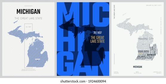 26 of 50 sets, US State Posters with name and Information in 3 Design Styles, Detailed vector art print Michigan map