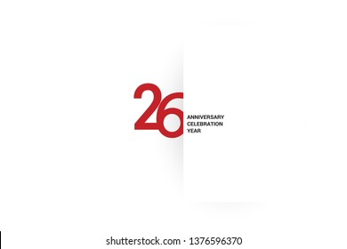 26 anniversary, minimalist logo.26th jubilee, greeting card. Birthday invitation. 26 year sign. Red space vector illustration on white background - Vector