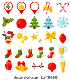 26 colorful cartoon christmas elements. New year holiday decorations. Xmas themed vector illustration for icon, logo, sticker, patch, label, sign, badge, certificate or gift card decoration