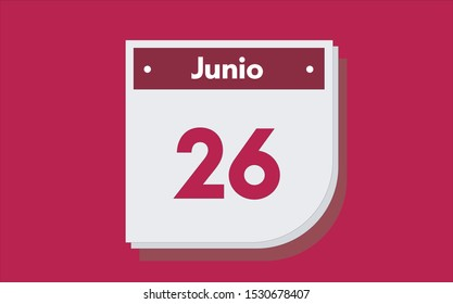 26 de Junio. Dia del mes. Calendario (June 26th. Day of month. Calendar in spanish) vector illustration icon.