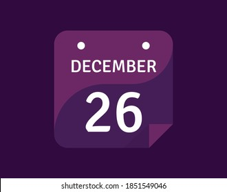 26 December, December 26 icon Single Day Calendar Vector illustration