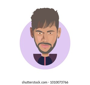 26 Jan 2018,Brasil,Neymar Flat icon portrait vector illustration