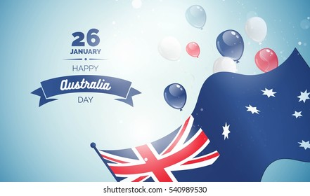 26 january. Australia Day greeting card. Celebration background with flying balloons and waving flag. Vector illustration