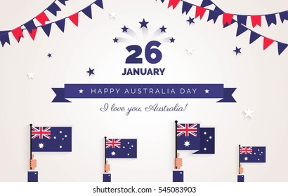 26 january. Australia Day greeting card. Holiday background with waving flags, ribbon and garlands. Vector flat illustration