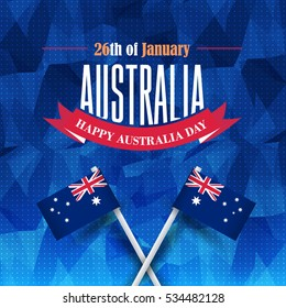 26 January Happy Australia Day. Polygonal Background and Flag Illustration and Vector Elements National Concept Greeting Card, Poster or Low Poly Web Banner Design