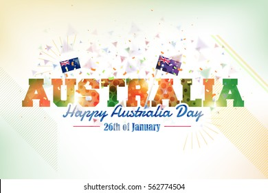 26 January Happy Australia Day. Polygonal Text, Vector Background and Flag Illustration and National Elements Greeting Card, Poster or Web Banner Design