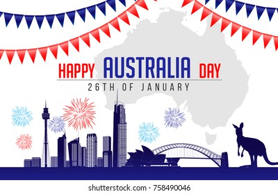 26 January Happy Australia Day. City Background and Flag Illustration and Vector Elements National Concept Greeting Card, Poster or Web Banner Design