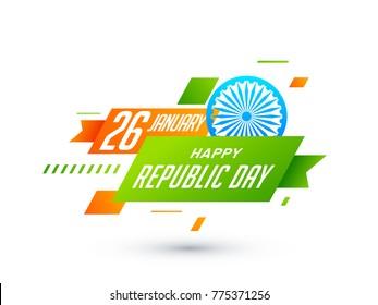 26 of January, Indian Republic Day Background with Ashoka Wheel and Geometric Shape Background.