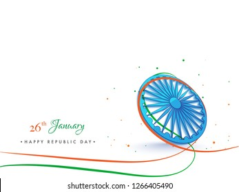 26 January poster design with illustration of Ashoka Wheel on white background for Happy Republic Day celebration concept.