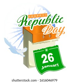 26 January Republic Day India. Calendar sheet calligraphy lettering text greeting card samsara Ashoka Chakra wheel. Isolated on white vector illustration