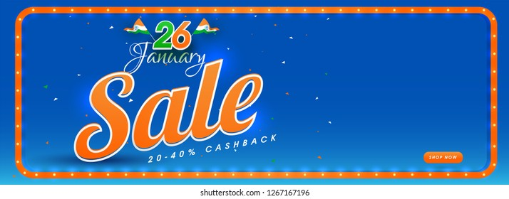 26 January Republic Day sale banner design with upto 20-40% cashback offer on blue background.