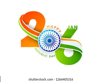 26 January text in saffron and green color with Ashok Wheel on white background for Happy Republic Day celebration.