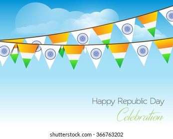 26 January vector creative Indian flag party background with bunting design