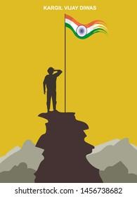 26 July Kargil Vijay Diwas,Kargil Victory Day illustration vector image