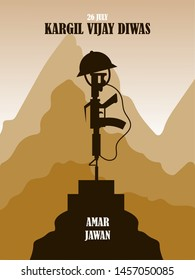 26 July Kargil Vijay Diwas,Kargil Victory Day illustration in vector