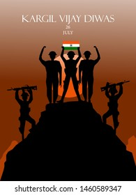 26 July Kargil Vijay Diwas,Kargil Victory Day illustration in vector file