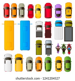 26 vector multi-colored icons of vehicles, top view: cars, trucks, buses, motorcycles, vans