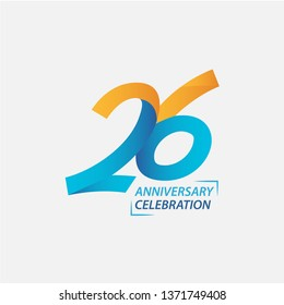 26 Year Anniversary Celebration Vector Template Design Illustration