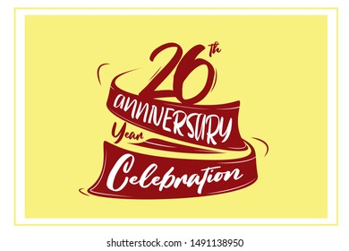 26 year anniversary Red Ribbon, minimalist logo, greeting card. Birthday invitation. 26 year sign. Red space vector illustration on yellow background - Vector