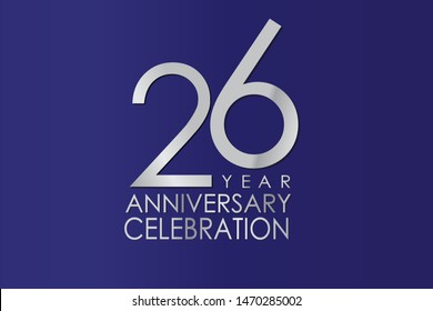 26 Year Anniversary Silver Color on Blue Background, For Invitation, banner, ads, greeting card - Vector