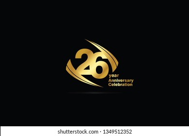 26 year minimalist logo years, jubilee, greeting card. Birthday invitation. Sign Cube Line Gold space vector illustration on black background - Vector