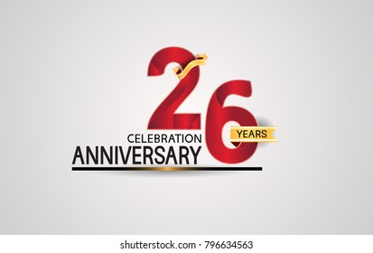 26 years anniversary celebration design with elegance red color and golden ribbon isolated on white background for celebration event