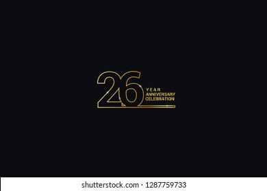 26 years anniversary celebration logotype. anniversary logo with golden and Spark light white color isolated on black background, vector design for celebration, invitation, and greeting card-vector