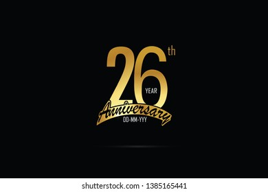 26 years anniversary celebration logotype. anniversary logo with golden Ribbons isolated on black backgrounds, for Birthdays, Invitation, Banner Card - Vector