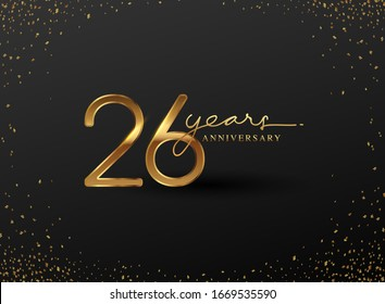 26 Years Anniversary Logo with Confetti Golden Colored isolated on black background, vector design for greeting card and invitation card