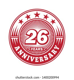 26 years anniversary. Anniversary logo design. Vector and illustration.