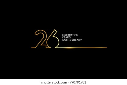 26 Years Anniversary logotype with golden colored font numbers made of one connected line, isolated on black background for company celebration event, birthday