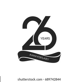 26 years anniversary pictogram vector icon, years birthday logo label, black and white stamp isolated