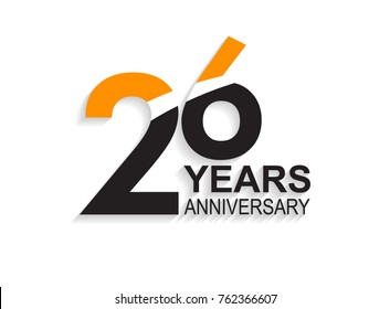 26 years anniversary simple design with white slash in orange and black number for celebration event