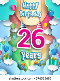 26 Years Birthday Celebration Design for greeting cards and poster, with clouds and gift box, balloons. design template for birthday celebration.