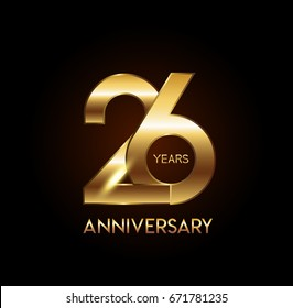 26 years gold anniversary celebration overlapping number logo, isolated on dark background