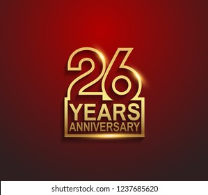 26 years golden anniversary line style isolated on red background for celebration