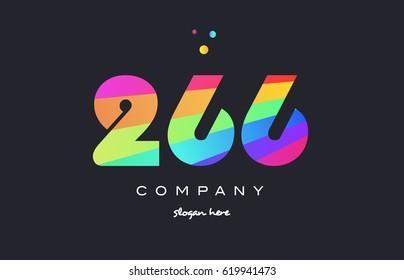 266 creative color green orange blue magenta pink number digit company logo vector icon spectrum