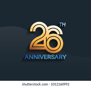 26th anniversary logotype with multiple line golden color isolated on dark blue background for celebration