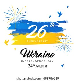 26th Anniversary of Ukraine's independence day greeting card vector illustration, Fireworks and Ukraine flag watercolor brush stroke style.