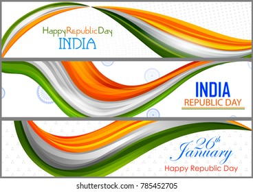 26th January, Happy Republic Day of India in vector background