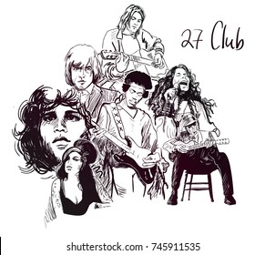 27 club culture music history person dead young rock jazz blues legends of twenty century Brian Jones, Jimi Hendrix, Janis Joplin,  Jim Morrison, Robert Johnson, Amy Winehouse, Kurt Cobain
