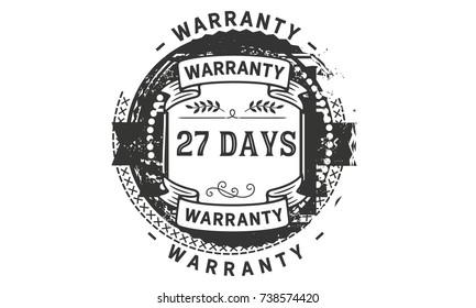27 days warranty icon vintage rubber stamp guarantee