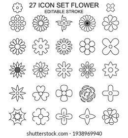 27 Icon Set Flower With Outline Style. Editable Stroke.