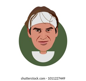 27 Jan 2018, Switzerland,Roger Federer a professional tennis player icon portrait illustration